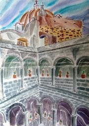 Cupula de la Parroquia de Zinacantepec desde el Claustro alto del Exconvento.