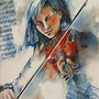Violoniste bleue mélancolique. Claude Creach
