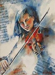Violoniste bleue mélancolique.