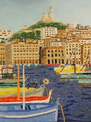 Le vieux port de Marseille en mosaïque.