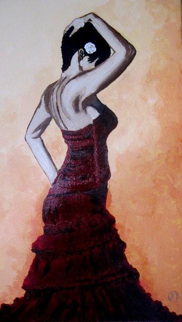 Danseuse de Flamenco en pleine lumière n° 221 10/2012. Jean Claude Ciutad-Savary Jean Claude Ciutad-Savary. Artiste Peintre