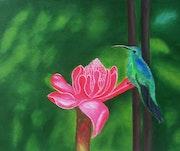 La rose et l'oiseau (acrylique) thème créole.