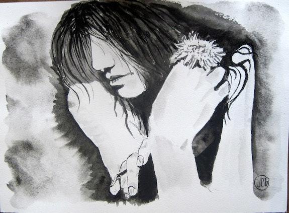 Noir et blanc avec sa fleur. Jean Claude Ciutad-Savary Jean Claude Ciutad-Savary. Artiste Peintre