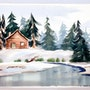 1940-50'S American School Watercolor :Cabin in the Snow (0063). The William Frederick Brooks Collections