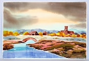 1940'S -1950's California School Watercolor : River Village Tower (0064).