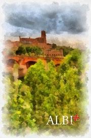 Albi, impression forte en contre-jour de la cathédrale sur les berges du Tarn.. Créartiss/créactif