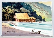 Hawaiian Homes: Two Original Signed Watercolors by Robert Landry (0069a & 0069b). The William Frederick Brooks Collections