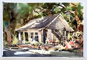 Hawaiian Homes: Two Original Signed Watercolors by Robert Landry (0069a & 0069b).