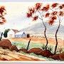 1940'S -1950's American School : Autumn Farm (0073). The William Frederick Brooks Collections