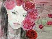 Jeune femme aux roses.