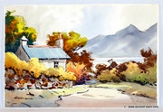 Autumn by the Lake : An Original 1950's California Watercolor (0075).