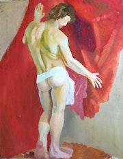 Männerakt mit rotem Tuch.