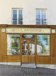 Les reflets de Montmartre sur la boulangerie.