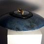 Coupe à fleurs en grès, émail raku bleu. Atelier-Chrisalina: Aline Arnaud