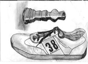 Candlestick and shoe done in pencil..