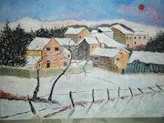 Petit village sous la neige.