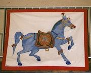 Tenture le cheval bleu. Nelly Técher Fauconnier