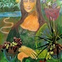 Mona Lisa Florist lc, contemporary painting quote from a famous work. Art Kado