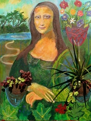 Mona Lisa Florist lc, contemporary painting quote from a famous work.