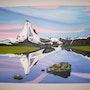 L'huile représentant le Cervin prise de vue a l'aube depuis le lac Stelisee. Philippe Mayor