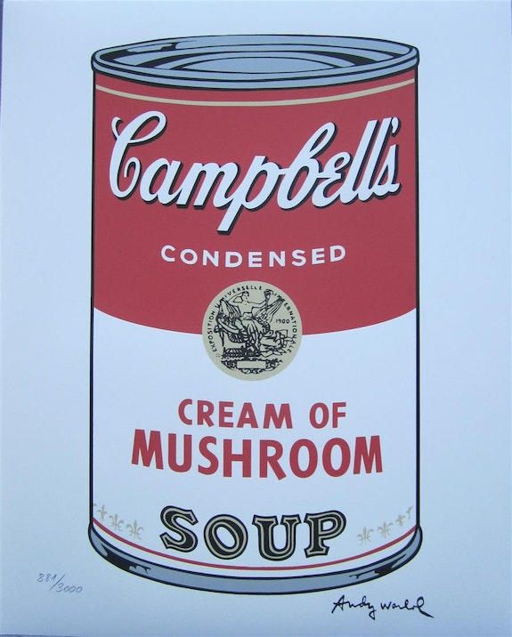 Andy Warhol Campbell's Soup I. Cream of Mushroom signed lithograph 881/3000. Andy Warhol Elcoco