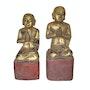 2 Buddhistische Lehrlinge aus Holz Myanmar Burma aus dem 18. Jh.. Elcoco