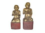Burmese wooden Disciples 18 - 19 century Myanmar.