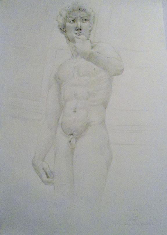 Dibujo del David de Miguel Angel.  Juan Fernandez