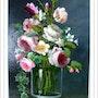 Bouquet de roses anciennes et de seringat. Monique Martin