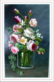 Bouquet de roses anciennes et de seringat.