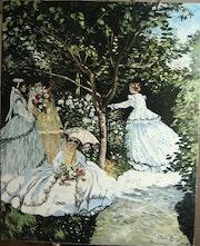 Femmes au jardin (huile sur chassis à clefs avec entretoises).