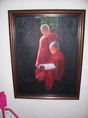 La meditation au tibet tableau a vendre. Christine Delice