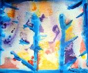 Les ombres bleues (la guerre); acrylique sur toile 1993..