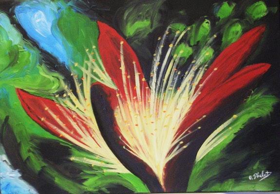 Feu d'artifice (acrylique) fleur de kapoquier. Ghislaine Phelut Ghislaine Phelut