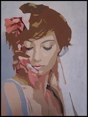 Portrait au ruban rose.