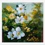 Roses jaunes et blanches accompagnées de mimosa. Monique Martin