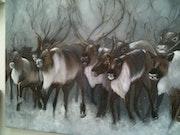 Troupeau de rennes en Siberie, huile et sable.