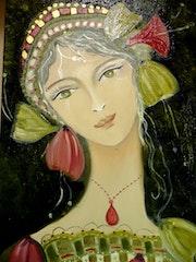 L'ange, huile sur toile, technique mixte, portrait jeune femme.