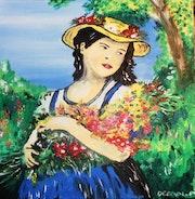 «Jeune fille au bouquet de fleurs».