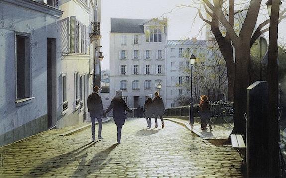 Soleil couchant sur les pavés de Montmartre. Thierry Duval Thierry Duval