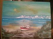 Le bateau en mer et sable.