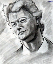 Tableau dessin réaliser a la main Bill clinton 50cm-40cm. Barek Neverlandess
