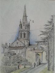 Village de Villetoureix (24 Dordogne) réalisation mine de plomb + pastel.