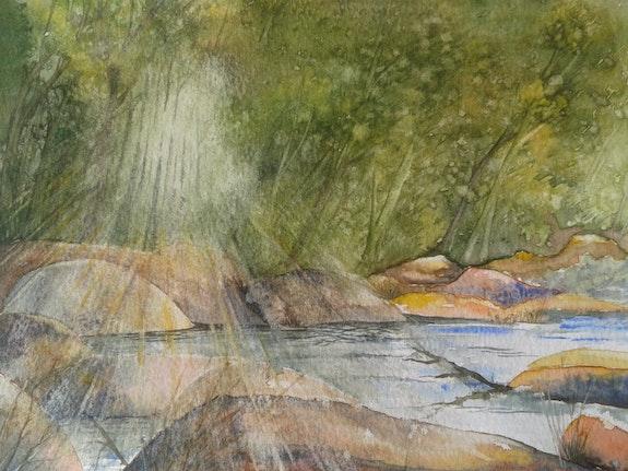 Lueur sur les rochers.  André Farnier