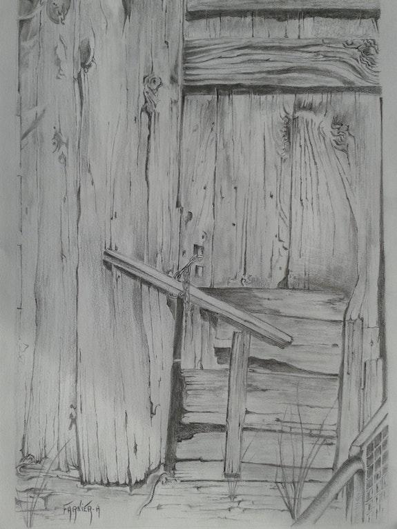 Vieille porte de grange. (Réalisation à la mine de plomb).. André Farnier