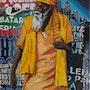 Figura sobre muro, collage y acrilico sobre tela.. Edgard Márquez