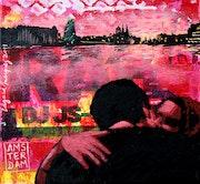 El beso, técnica mixta sobre tela, collage, acrílico, estarcido.. Edgard Márquez