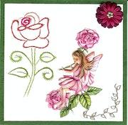 Carte postale unique faite à la main, Elfe aux roses et broderie d'une rose.