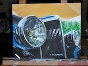 » L'auto du salon » tableau acrylique sur toile 33x41 cm renault d'avant guerre. 00