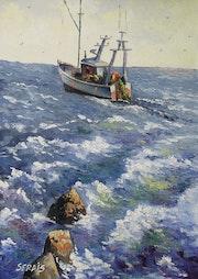 Lumiere diaphane du cotentin ou sortie en mer à Barfleur n° 3.